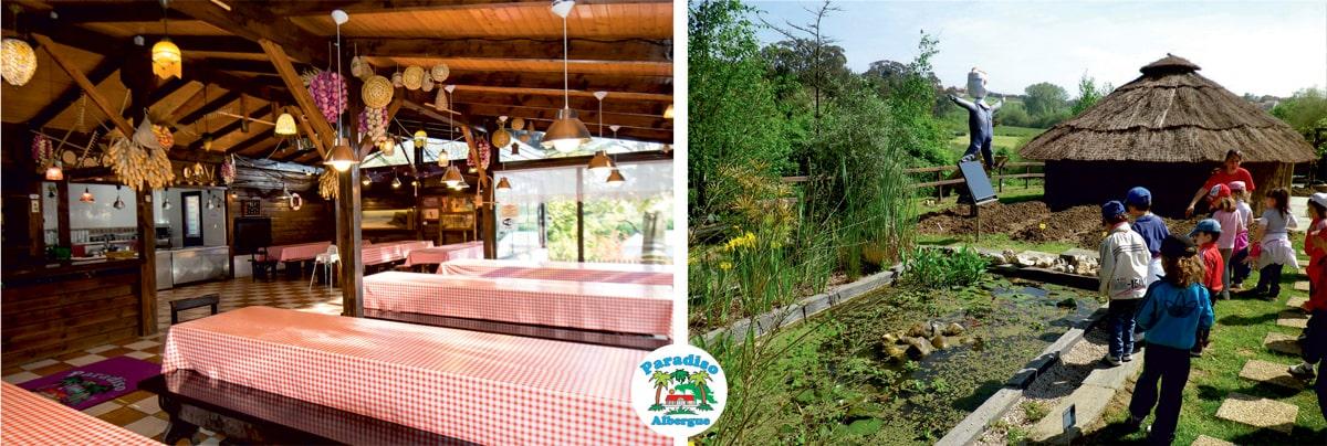 comedor y entorno natural albergue paradiso